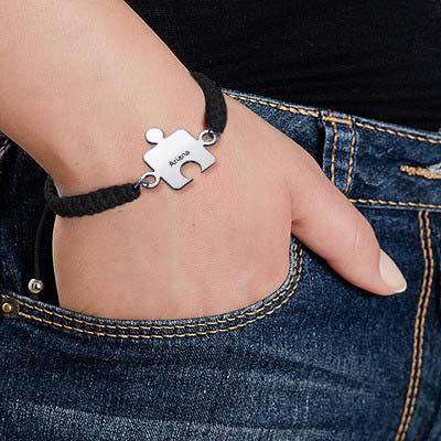 Puzzel Armband in 925 Zilver aan Koord - 4