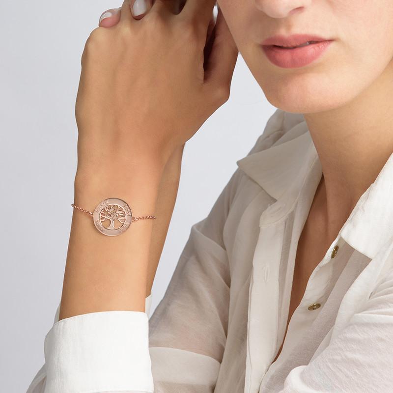 Rosé-Vergulde Stamboom Armband met Gravering - 2