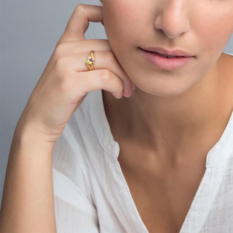 Persoonlijke Geboortesteen Ring in Goudkleur - 2