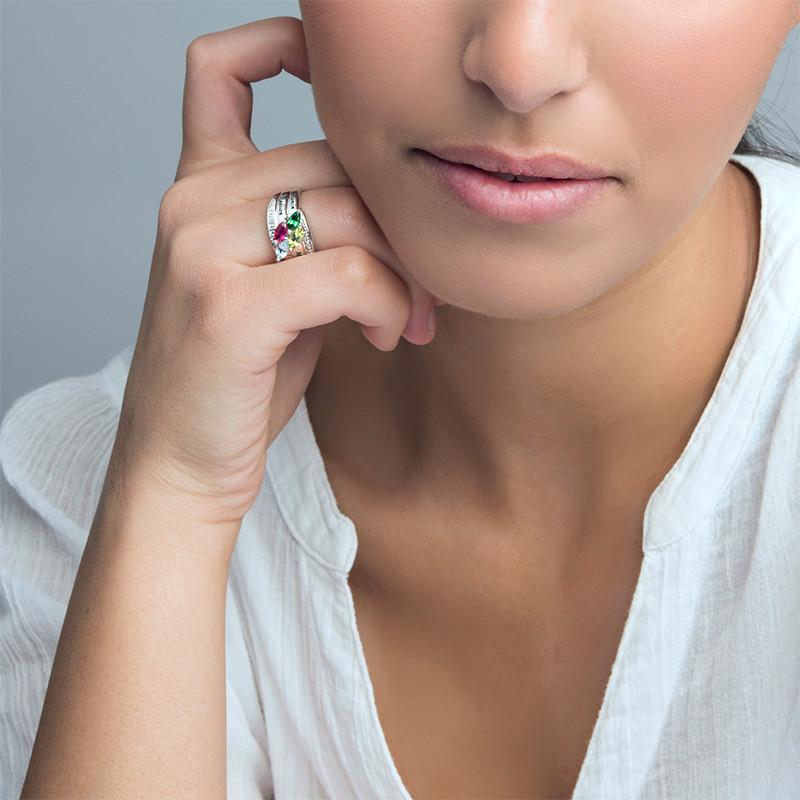 Moeder Ring met Geboortestenen in 925 Zilver - 2