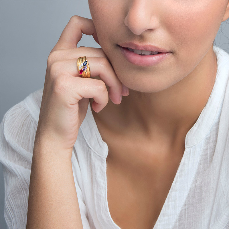 Moeder Ring met Geboortestenen in Goudkleur - 2