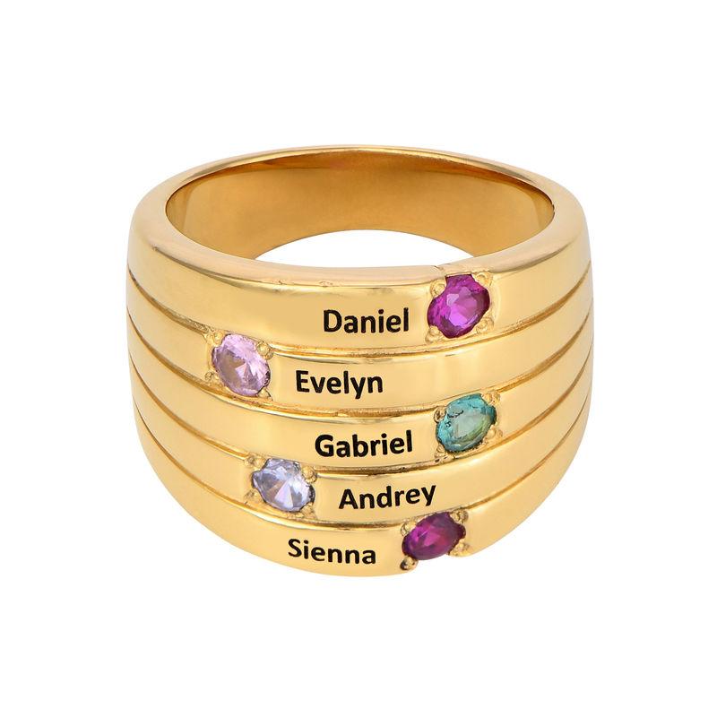 Moeder Ring met Vijf Stenen Goud Verguld - Groot Formaat