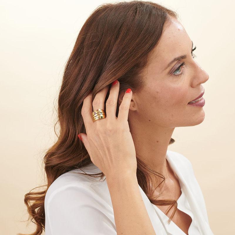 Moeder Ring met Vijf Stenen Goud Verguld - Groot Formaat - 2