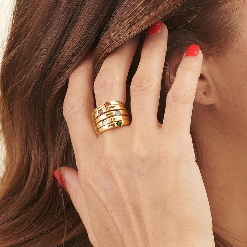 Moeder Ring met Vijf Stenen Goud Verguld - Groot Formaat - 3