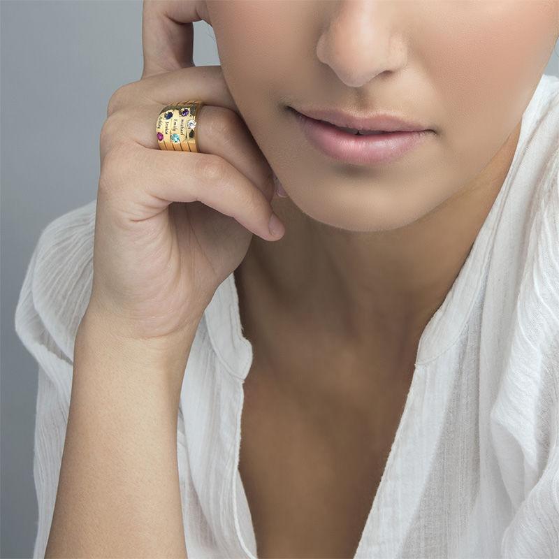 Moeder Ring met Vijf Stenen Goud Verguld - Groot Formaat - 4