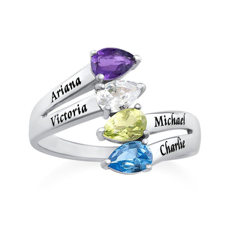 Vier Stenen Moeder Ring in 925 Zilver - 1