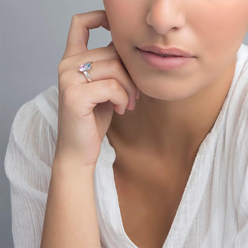 Gepersonaliseerde Hart Geboortesteen Ring in 925 Zilver - 2
