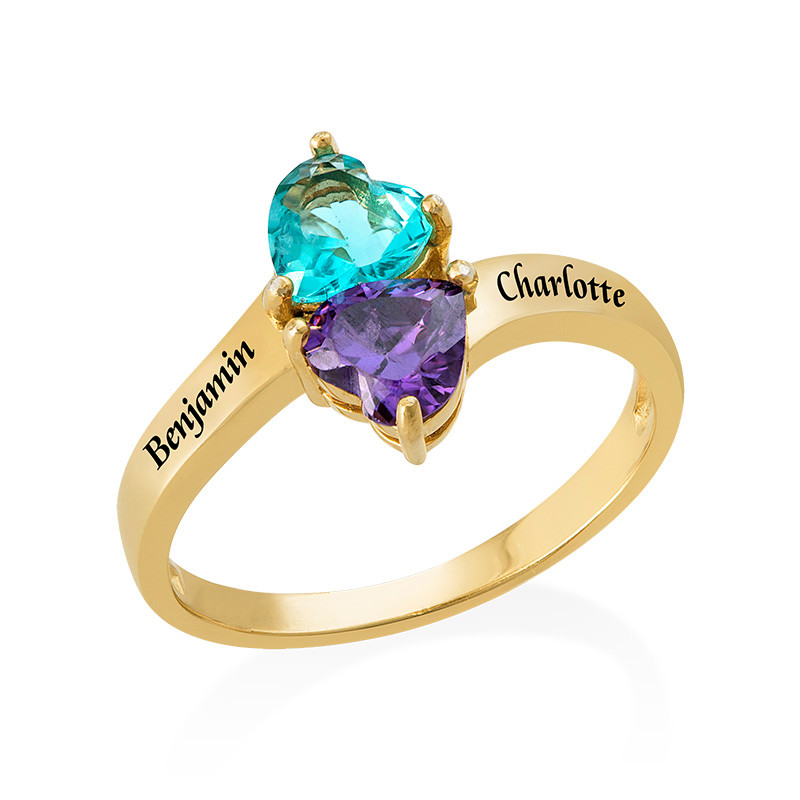 Gepersonaliseerde Hart Geboortesteen Ring in Goudkleur