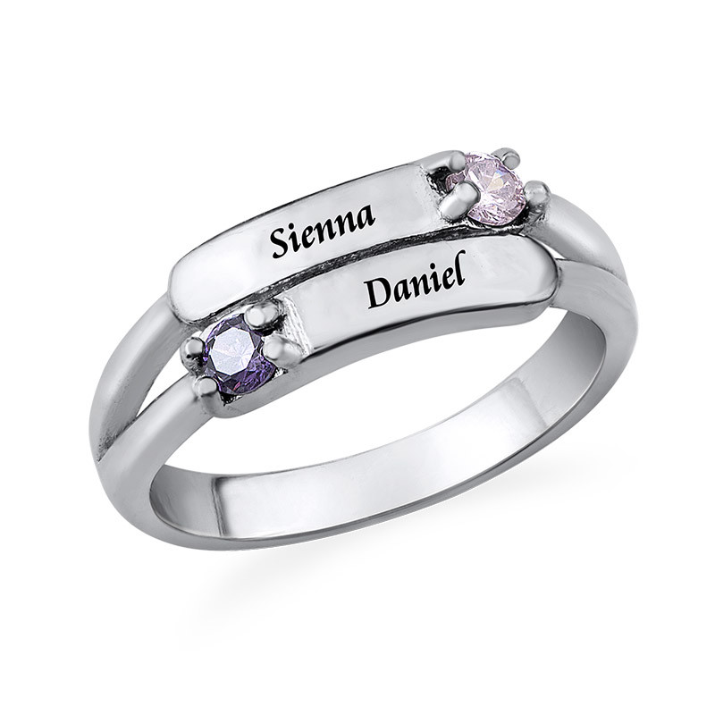 Gegraveerde Dubbele Geboortesteen Ring