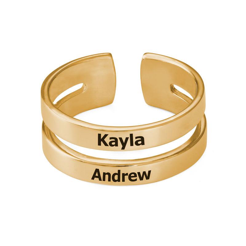 Ring met twee namen in Goud Verguld Vermeil - 1