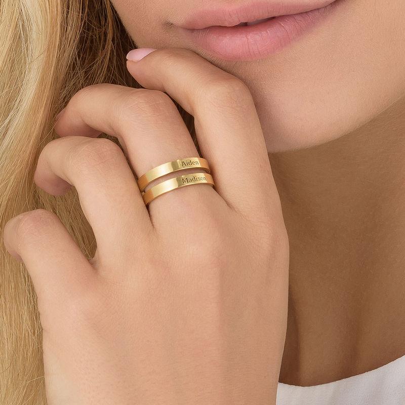 Ring met twee namen in Goud Verguld Vermeil - 3