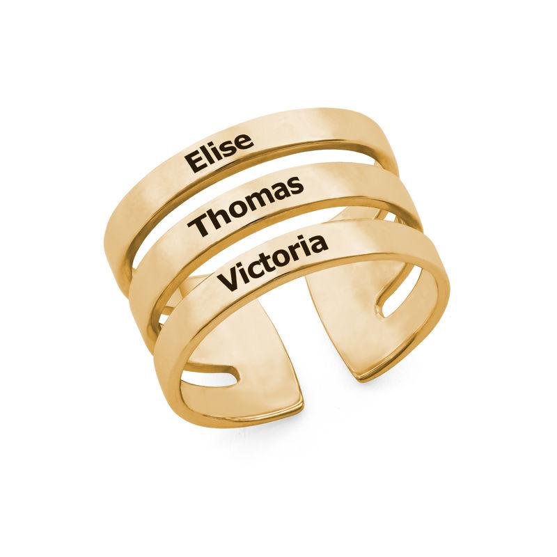 Ring met drie namen in Goud Verguld Vermeil