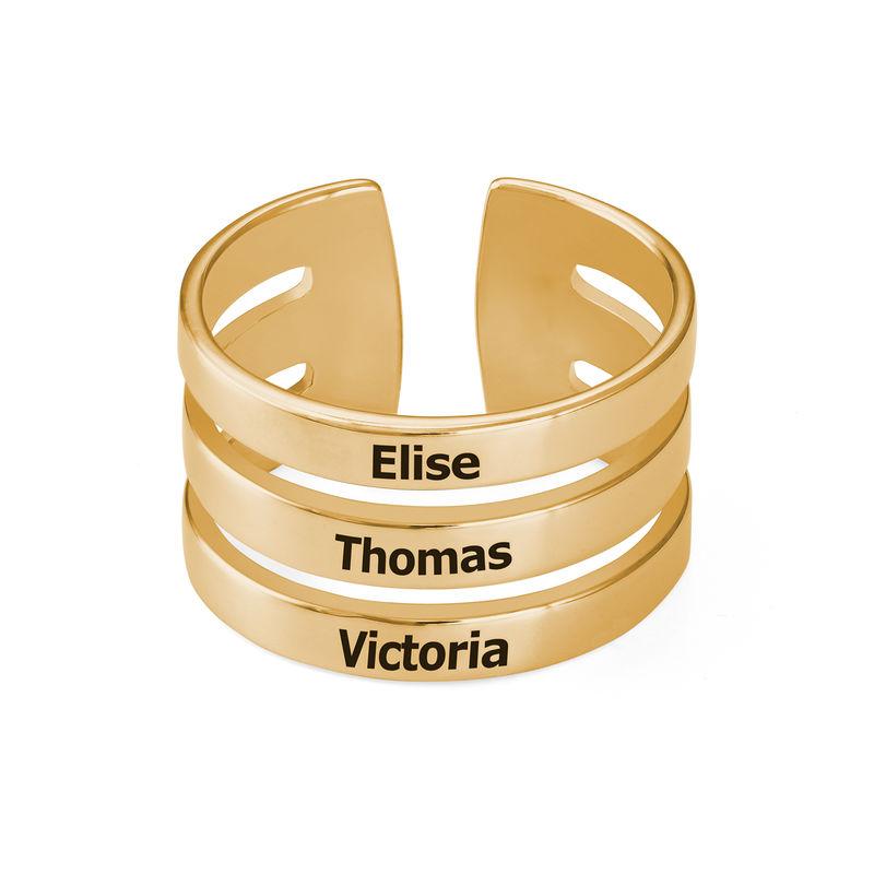 Ring met drie namen in Goud Verguld Vermeil - 1