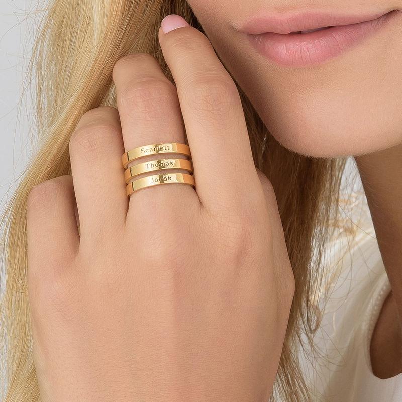 Ring met drie namen in Goud Verguld Vermeil - 5