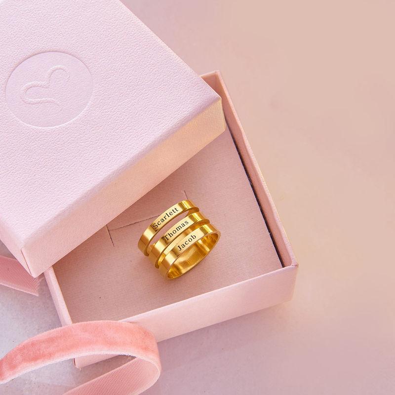 Ring met drie namen in Goud Verguld Vermeil - 6