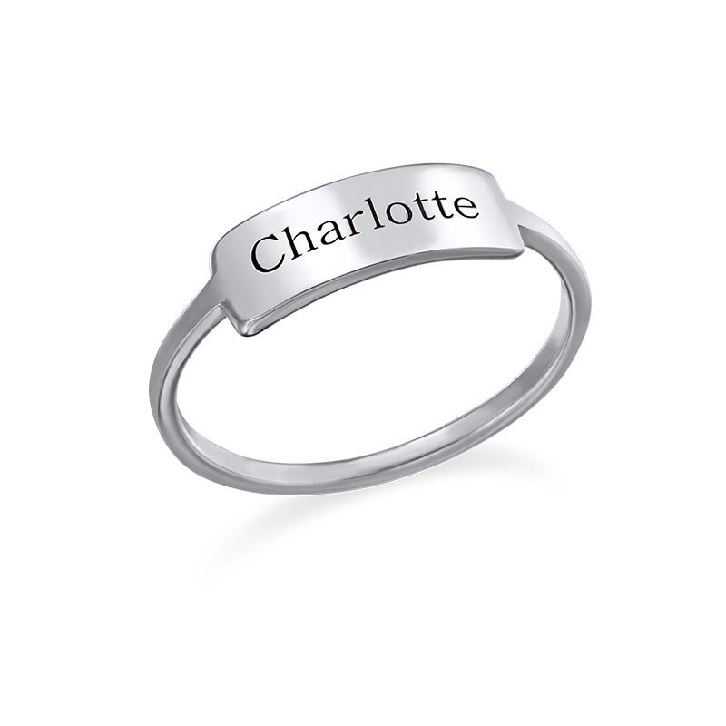 Zilveren Gegraveerde Ring met Naamplaat
