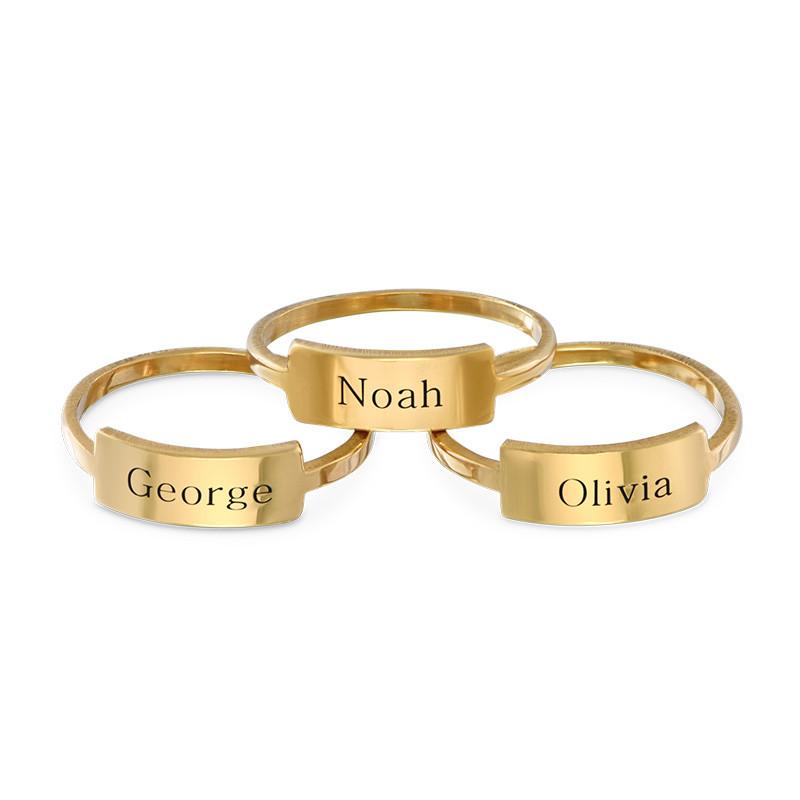 Gegraveerde Ring met Naamplaat - Goud Verguld - 1