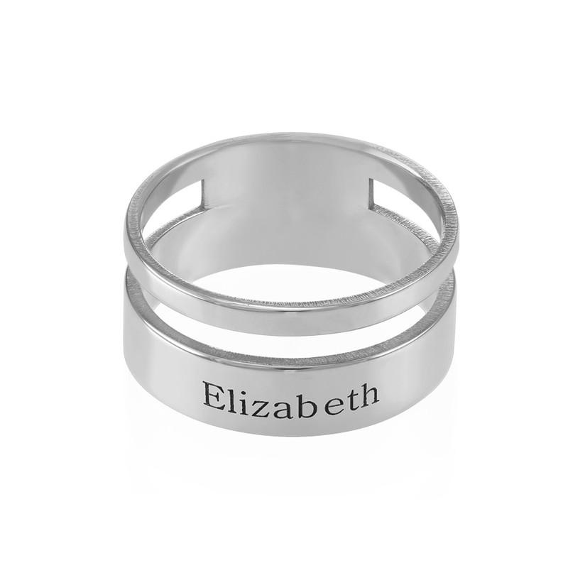 Asymmetrische Zilveren Ring met Naam - 1