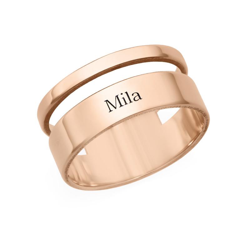 Asymmetrische Rosé-Vergulde Ring met Naam