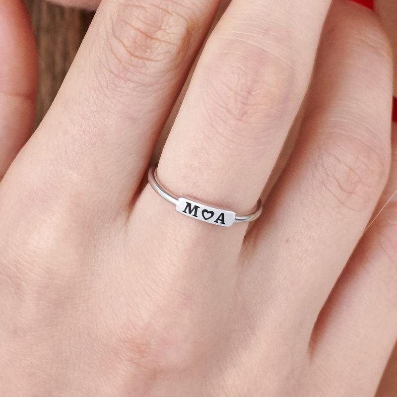 Stapelbare ring met naamplaatje in zilveren uitvoering - 4