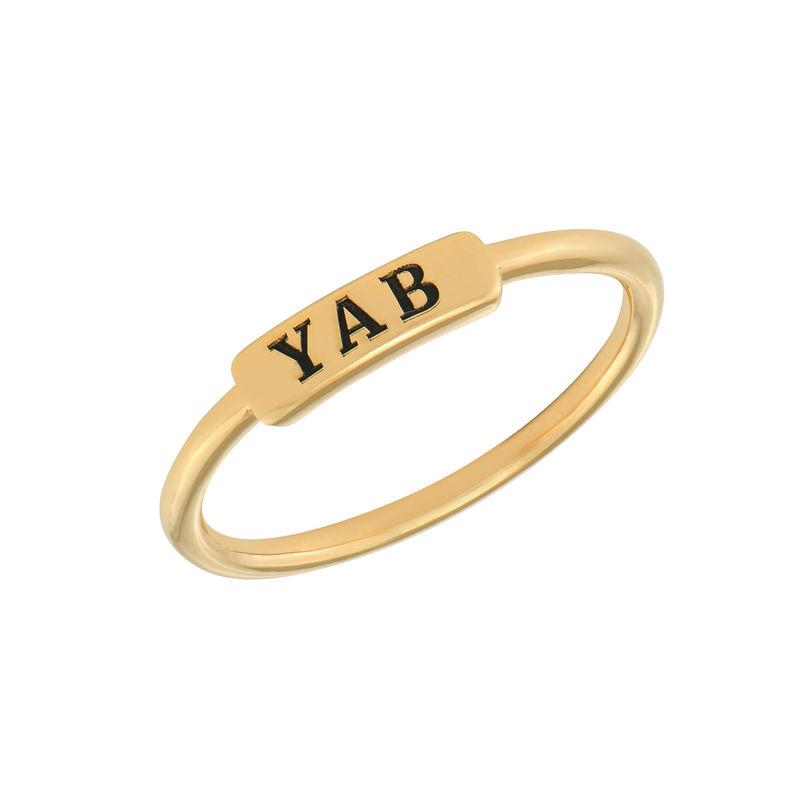Stapelbare ring met naamplaatje in vergulde uitvoering