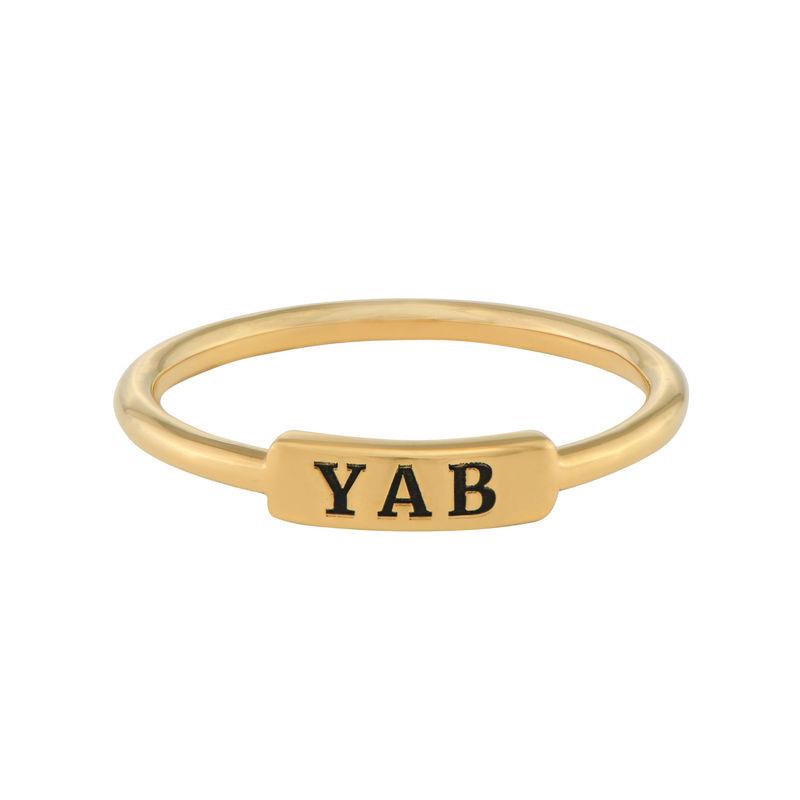 Stapelbare ring met naamplaatje in vergulde uitvoering - 1