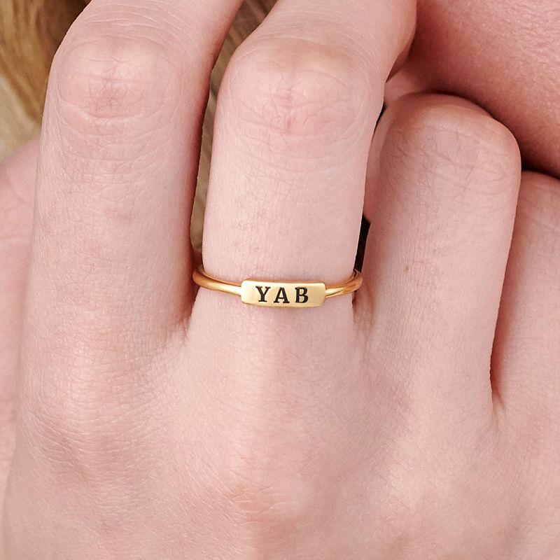 Stapelbare ring met naamplaatje in vergulde uitvoering - 4