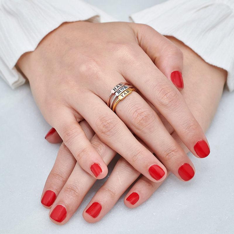 Stapelbare ring met naamplaatje in vergulde uitvoering - 6