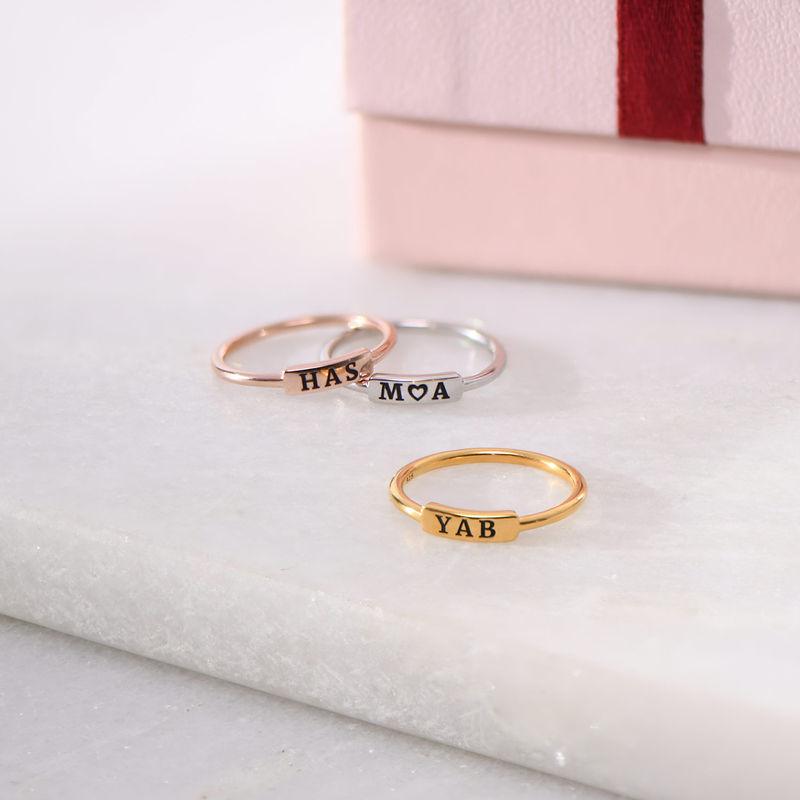 Stapelbare ring met naamplaatje in rosé-vergulde uitvoering - 2