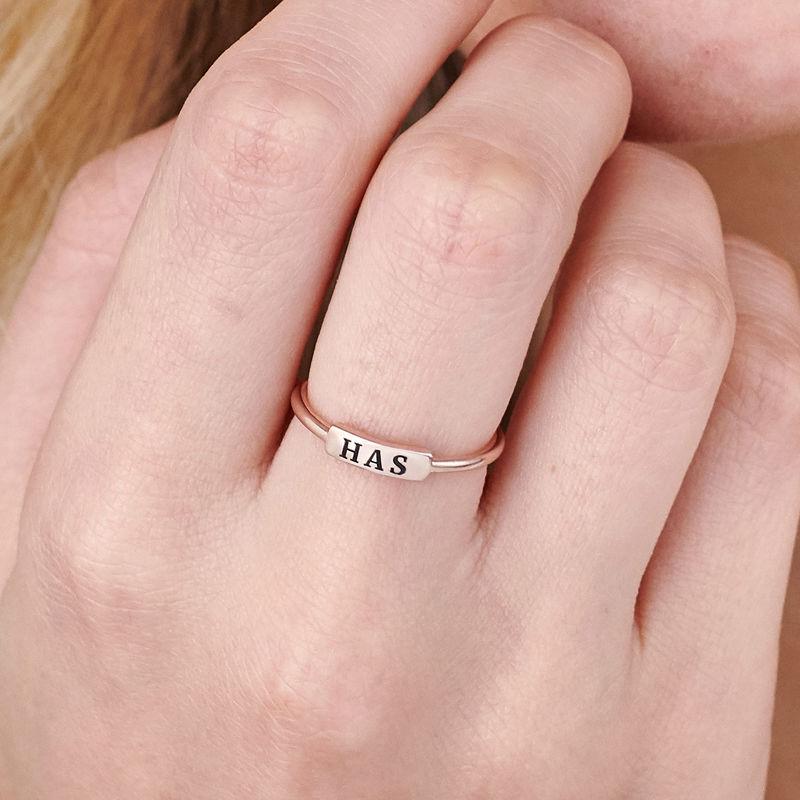 Stapelbare ring met naamplaatje in rosé-vergulde uitvoering - 4