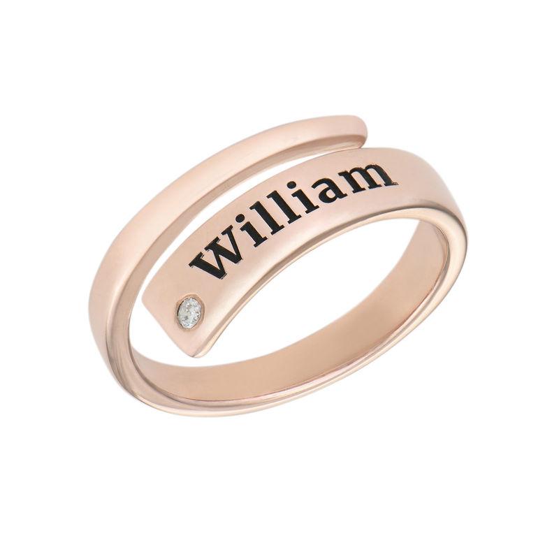 Gepersonaliseerde wikkelring met naam en diamant in rosé-vergulde uitvoering