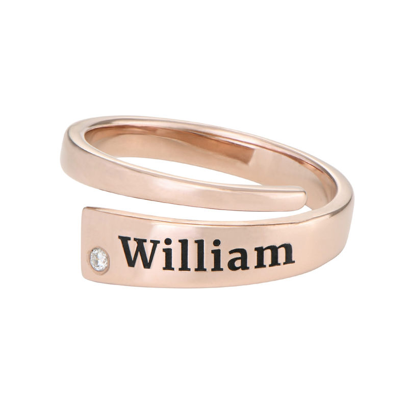 Gepersonaliseerde wikkelring met naam en diamant in rosé-vergulde uitvoering - 1