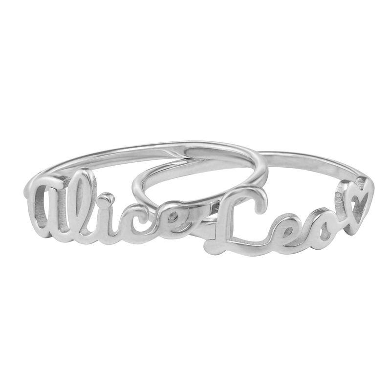 Naam-ring met lopend schrift in zilveren uitvoering - 2