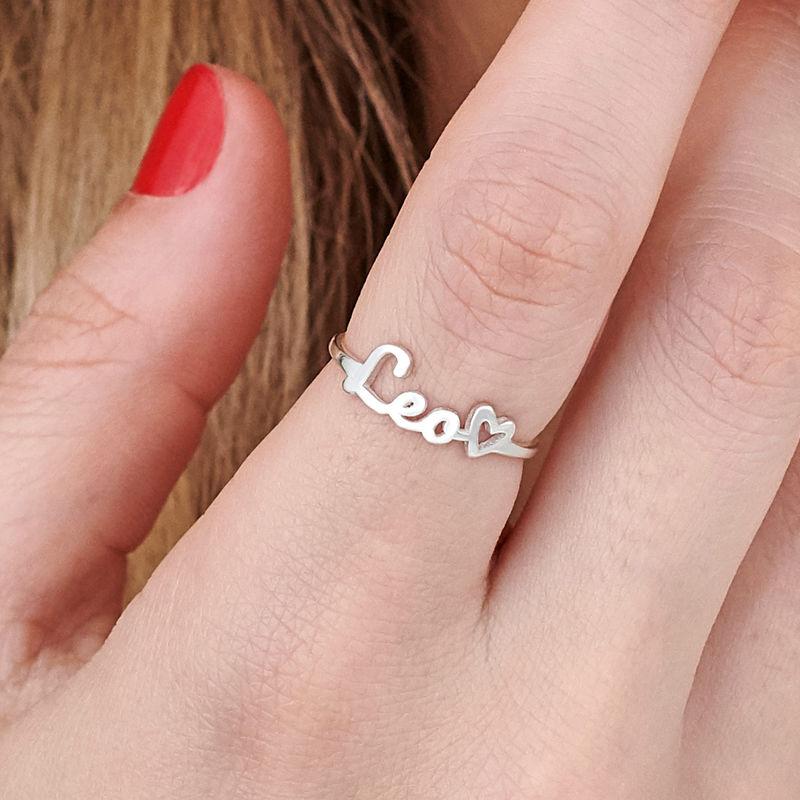 Naam-ring met lopend schrift in zilveren uitvoering - 5