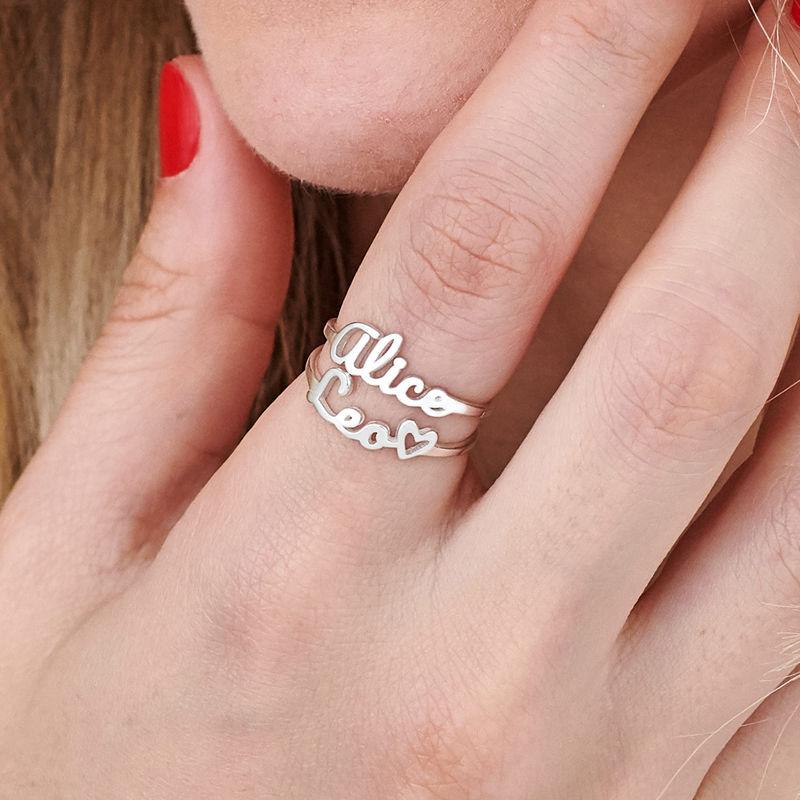 Naam-ring met lopend schrift in zilveren uitvoering - 6