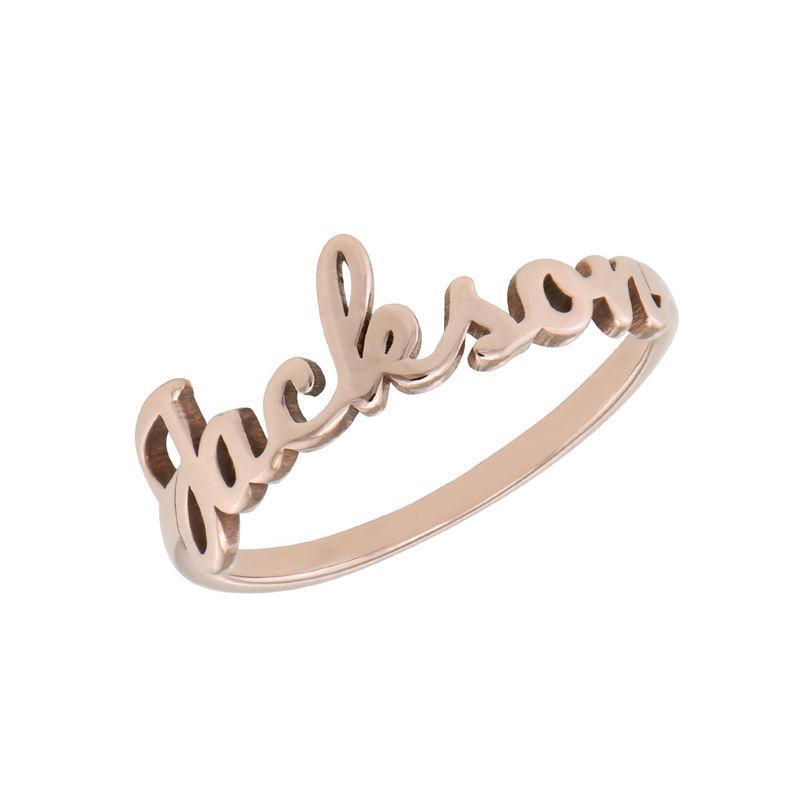 Naam-ring met lopend schrift in rosé-vergulde uitvoering
