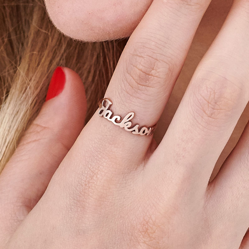 Naam-ring met lopend schrift in rosé-vergulde uitvoering - 4
