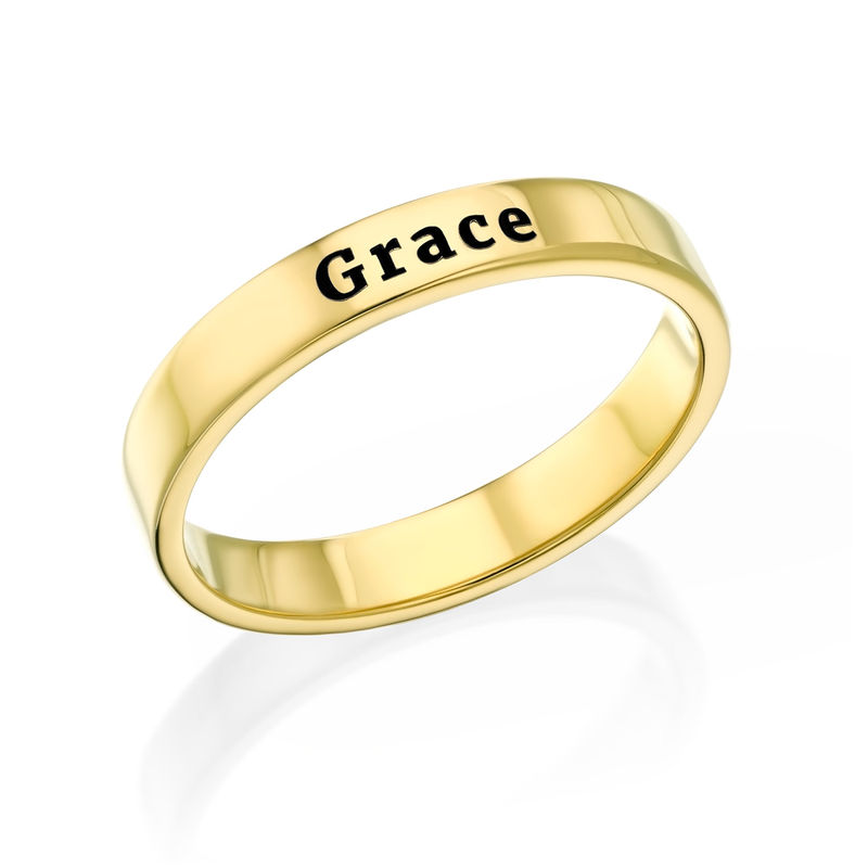 Dunne Vergulde gegraveerde ring