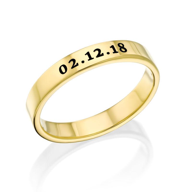 Dunne Vergulde gegraveerde ring - 1