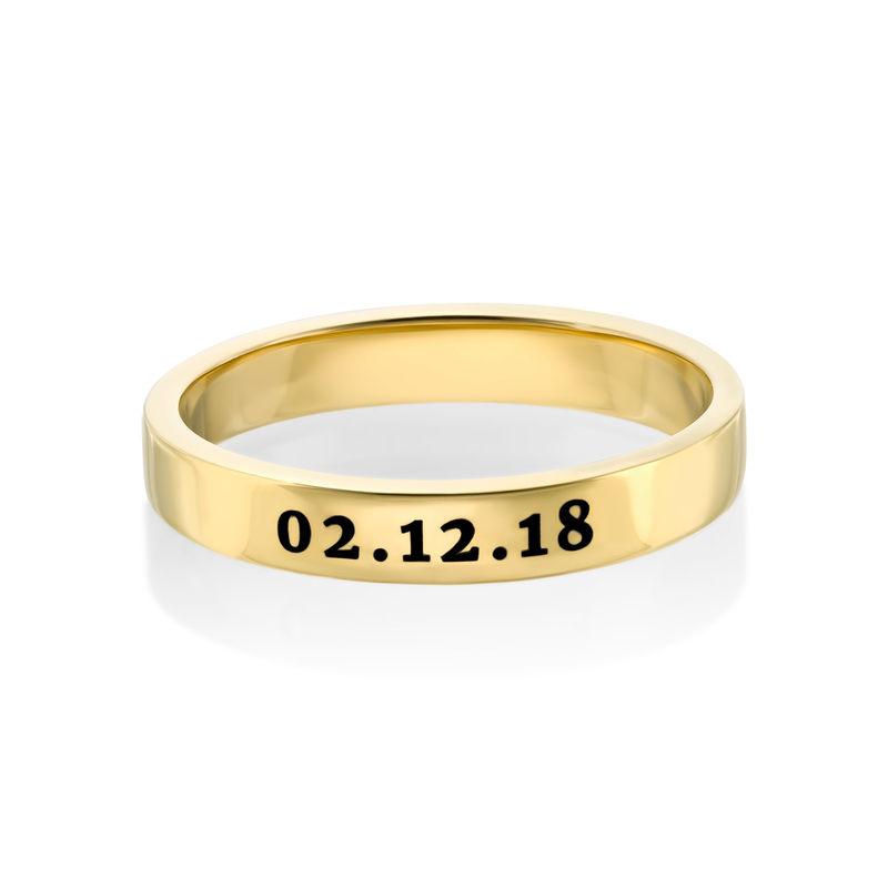 Dunne Vergulde gegraveerde ring - 2