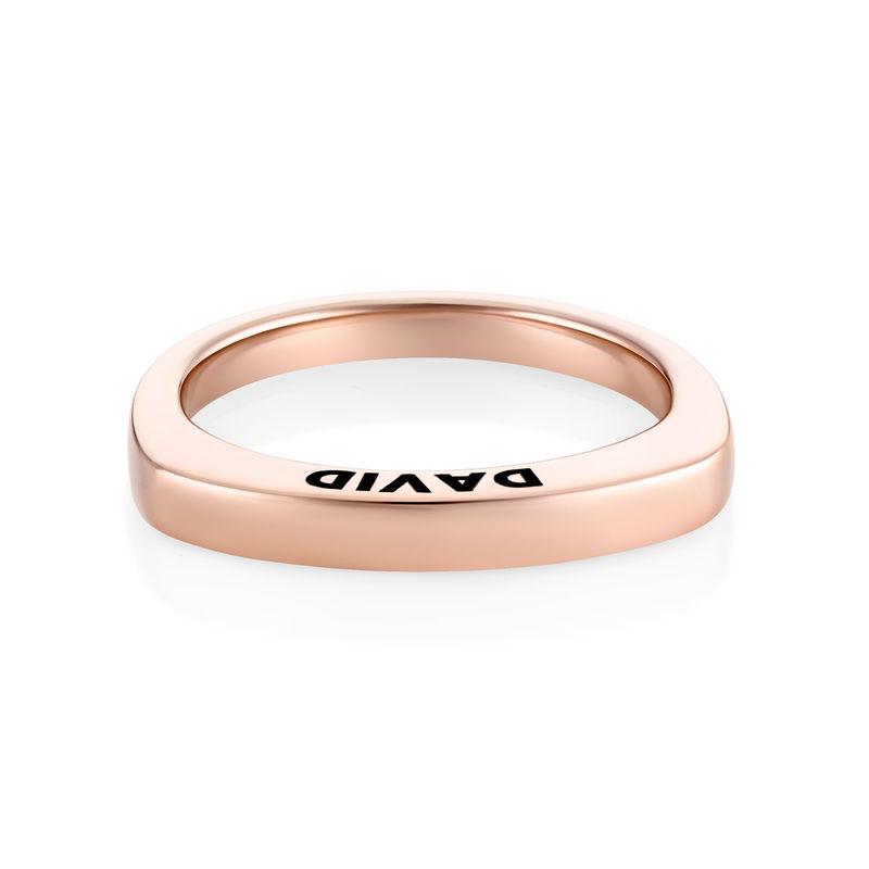 Rosé-vergulde gegraveerde vierkante ring - 1