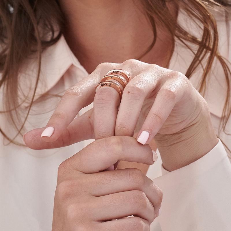Rosé-vergulde gegraveerde vierkante ring - 6