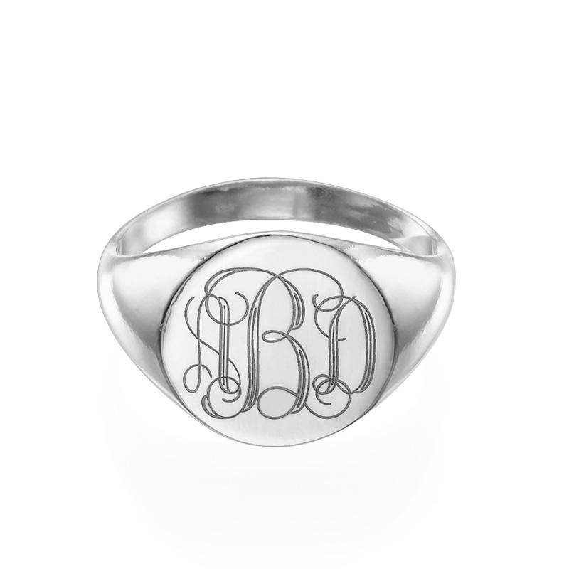 Zegel Ring met Gegraveerd Monogram in 925 Zilver - 1