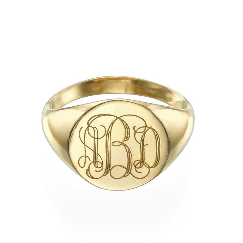 Zegel Ring met Gegraveerd Monogram in Goudkleur - 1