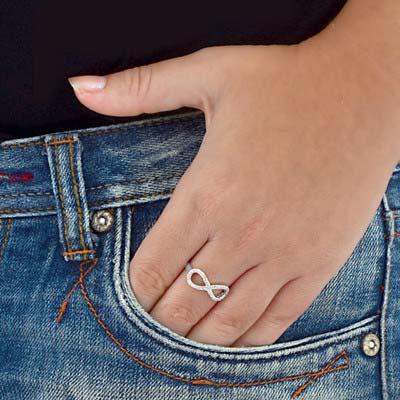 Kubische Zirkonia Infinity Ring in 925 Zilver - 2