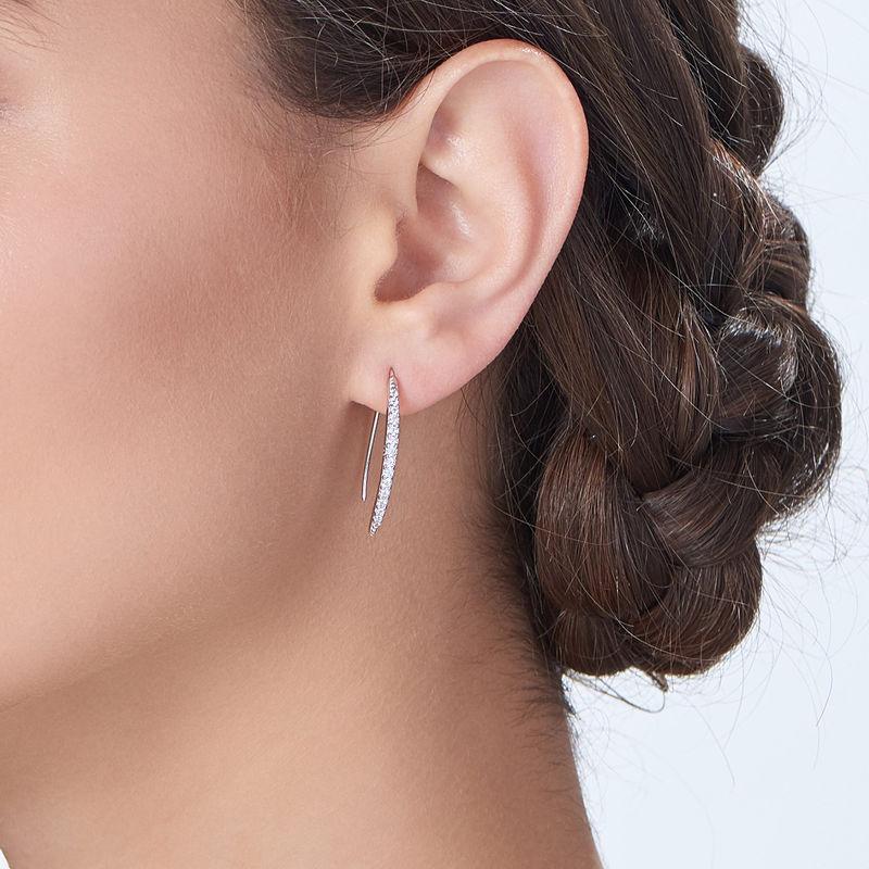 Sterling zilveren gebogen bar oorstekers met Zirkonia - 1