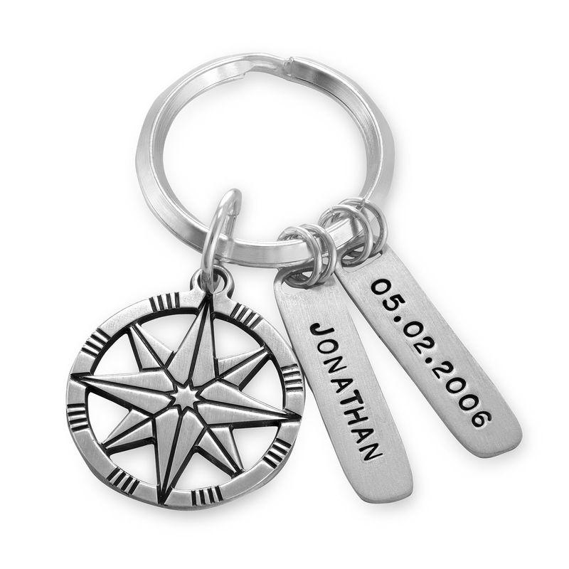 Gepersonaliseerde Sterling zilveren kompas sleutelhanger
