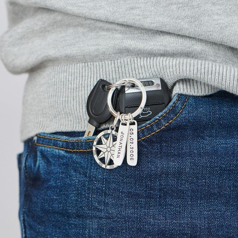 Gepersonaliseerde Sterling zilveren kompas sleutelhanger - 1