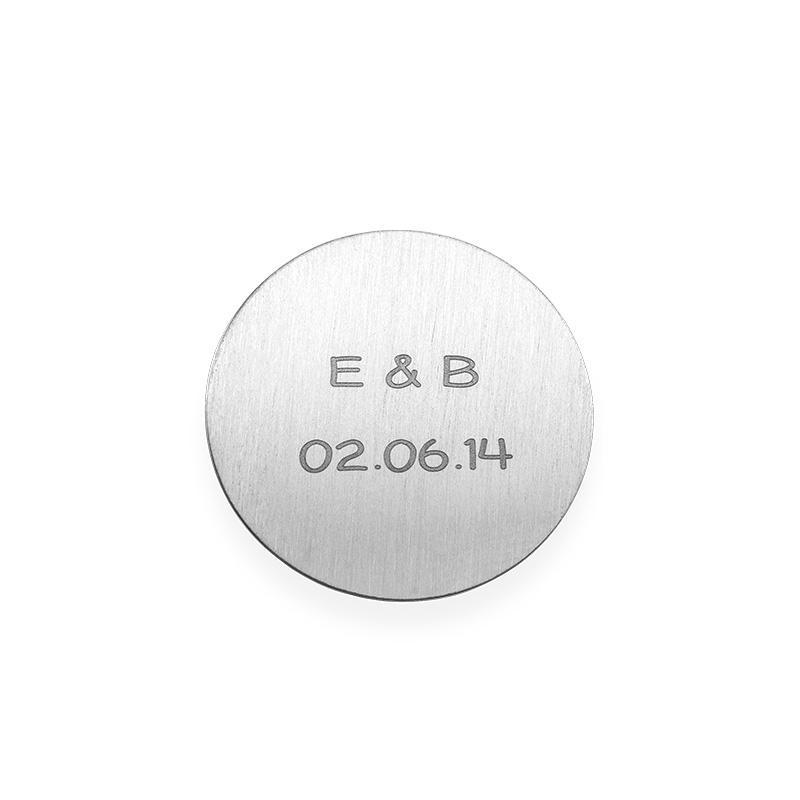 Floating Locket Schijf – Graveerbare Zilverkleurige Disc met Initialen