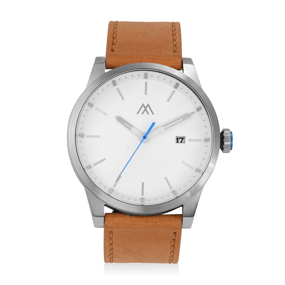 Odysseus Day Date Minimalistisch camel kleur lederen horlogeband